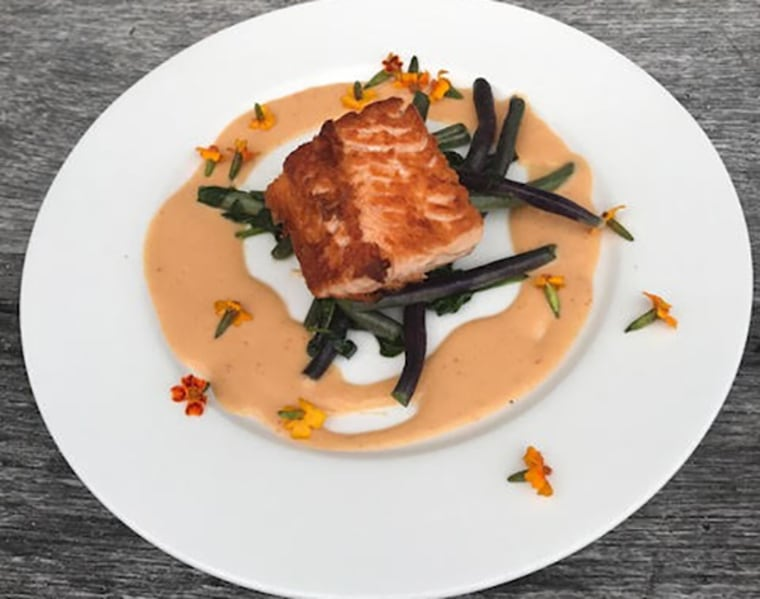 Organic farm raised salmon with peach glaze, Jersey purple beans and baby spinach.