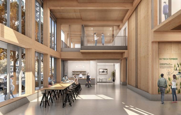 An artist's rendering of the Framework lobby.