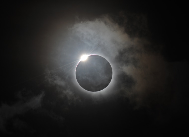 The Diamond Ring effect is shown following totality of the solar eclipse at Palm Cove in Australia's Tropical North Queensland in 2012.