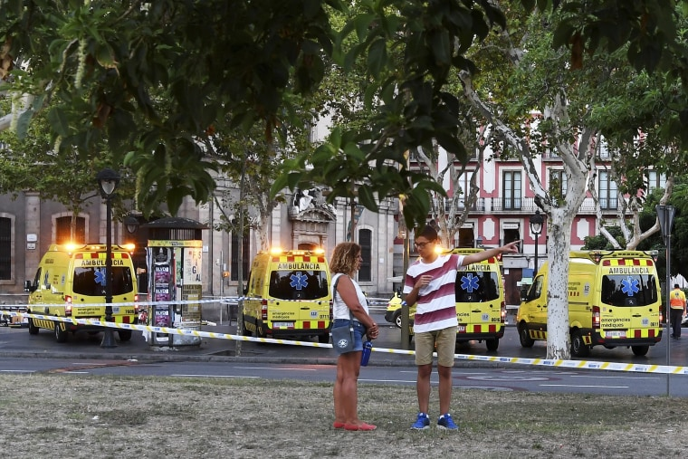 Image: Van Hits Crowds In Barcelona's Las Ramblas