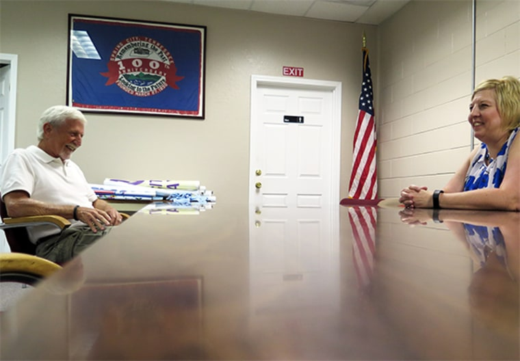 """""""It's the biggest little thing to happen to this town,"""" said Billy Ray Patton, left, mayor of Spring City, Tennessee. At right, City Manager Stephania Motes."""
