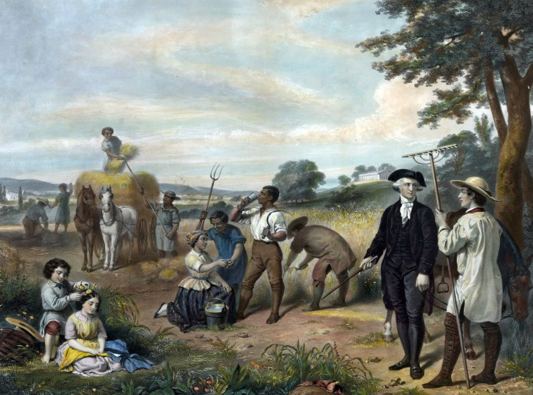 George Washington standing among African-American field workers.