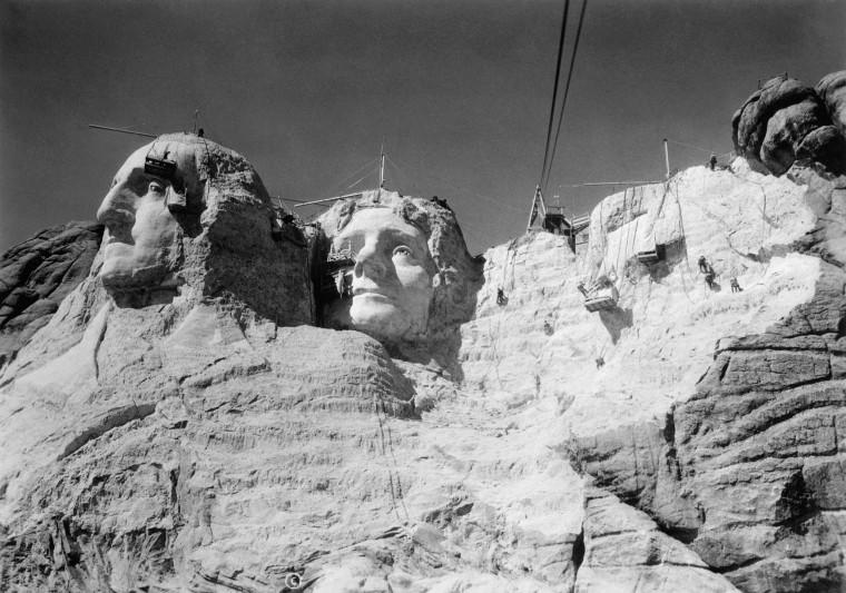 View of Mount Rushmore in Progress