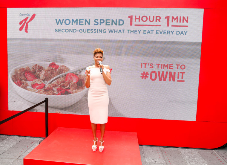 Taraji P. Henson, in Times Square, with Kellogg's Special K to rally women to eat with confidence and stop second-guessing their food choices.
