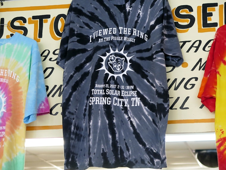 A display of commemorative eclipse shirts sold at the Piggly Wiggly in Spring City, Tennessee.