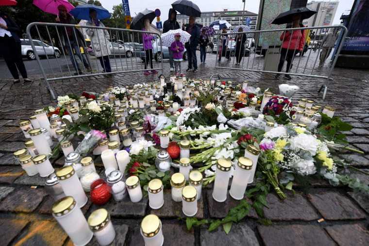 Image: Memorial candles at the Turku Market Square for the victims of Friday's stabbings in Turku