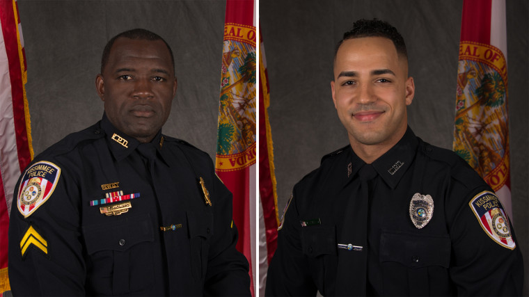 Image: Officers Matthew Baxter, right, and Sam Howard, left, who were both shot and killed in Kissimmee, Florida, on Friday, Aug. 18, 2017.