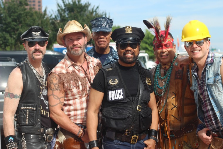 Village People at the Hampton Roads Pride Fest, June 2017: (L-R) Eric Anzalone, Jim Newman, Alex Briley, Ray Simpson, Felipe Rose and Bill Whitefield.