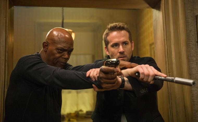 "Image: Samuel L. Jackson as ""Darius Kincaid"" and Ryan Reynolds as ""Michael Bryce"" in The Hitman's Bodyguard"