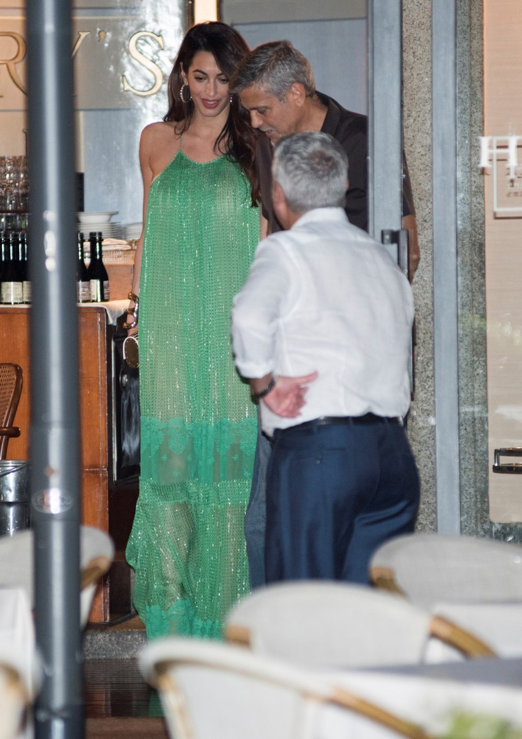 George and Amal's date night at Harry's Bar in Cernobbio, Italy.