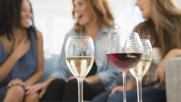 Women drinking wine and talking