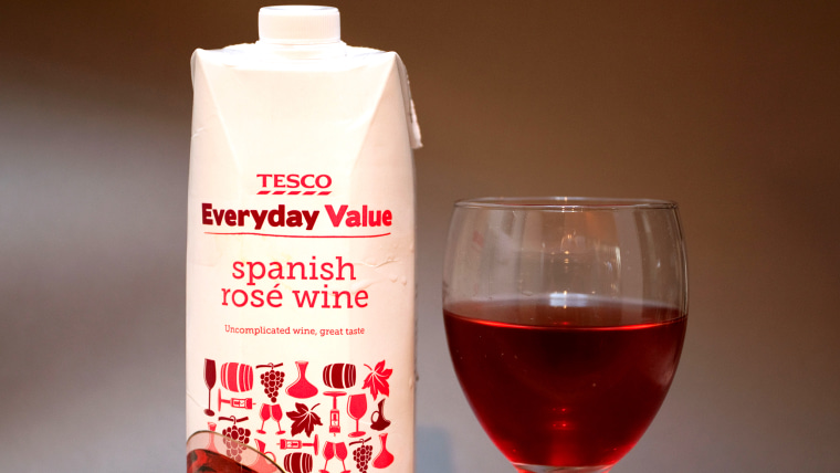 Supermarkets now sell wine in 1 litre cartons, London. Image shot 2012. Exact date unknown.