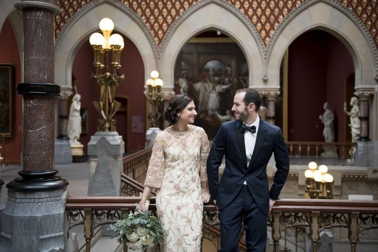 Madison Kantzer and Adam Hoffman pose at the Pennsylvania Academy of Fine Arts in Philadelphia.