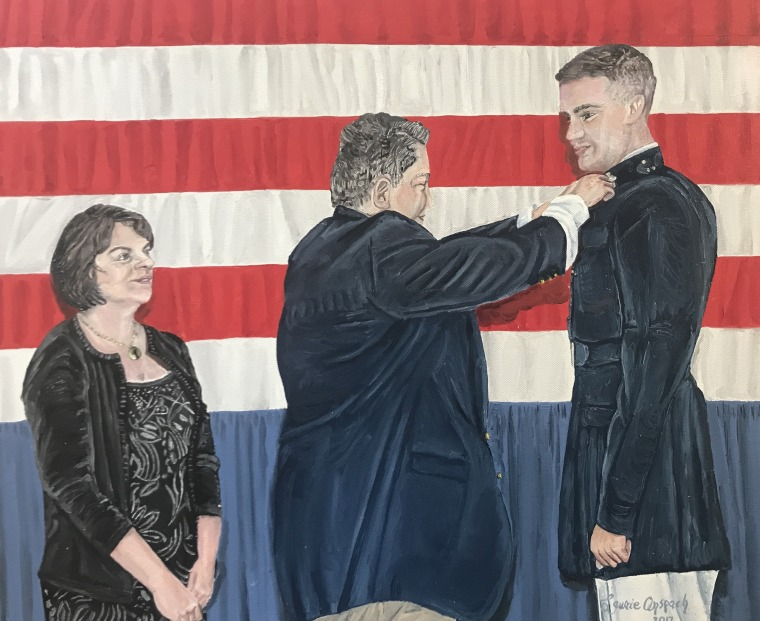A portrait of the Jones family, painted by Laurie Anspach.