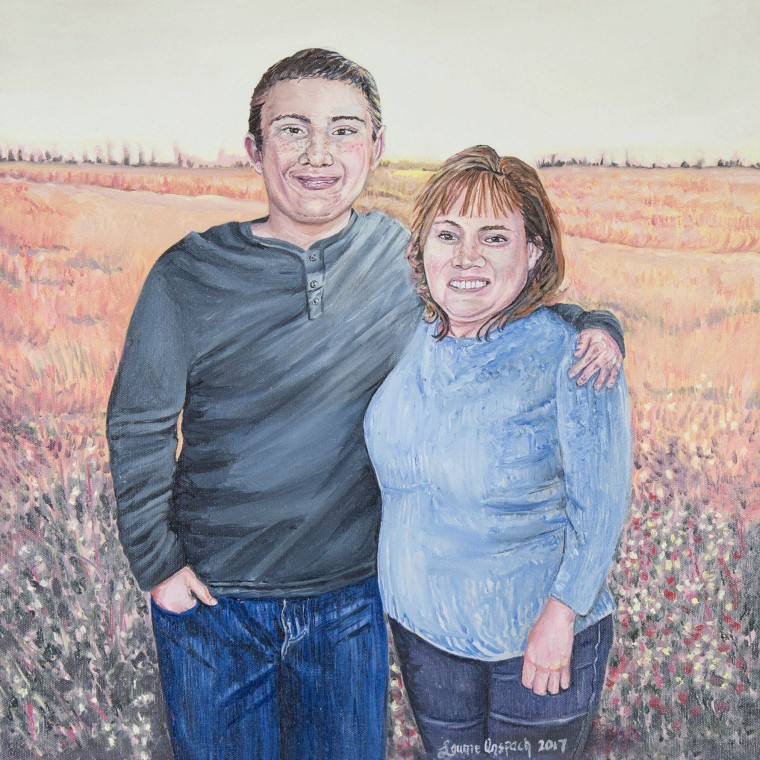 Laurie Anspach's painting of Christine Hanlon and her son, Dylan.