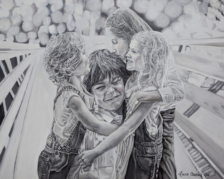 A painting by Laurie Anspach of a family dealing with a childhood cancer diagnosis.