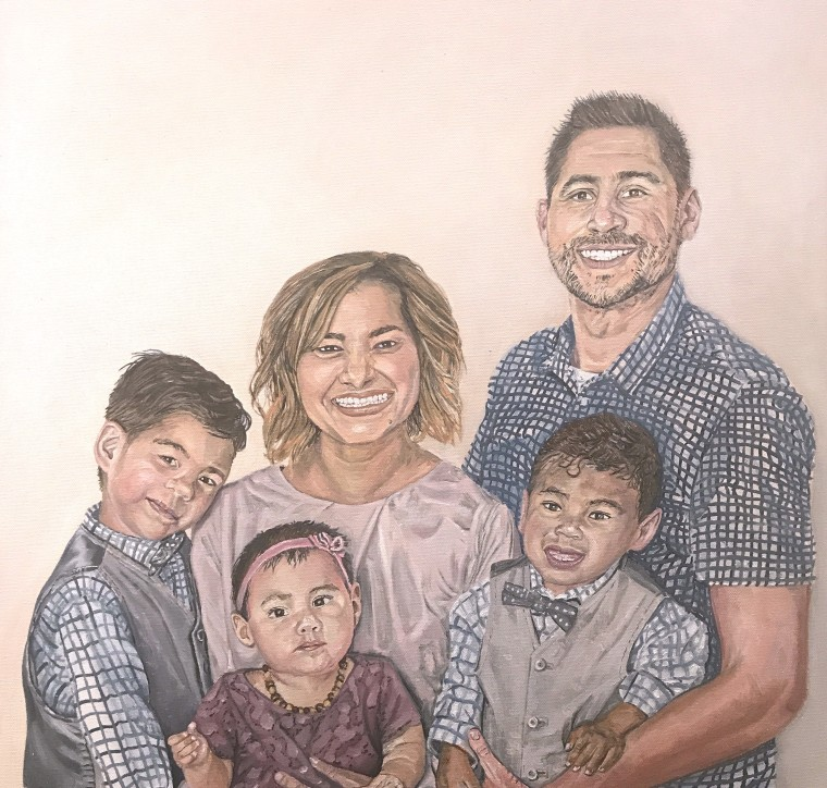 A painting of the Tellez family, by Laurie Anspach.