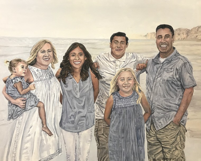 The Fierro family, painted by Laurie Anspach.
