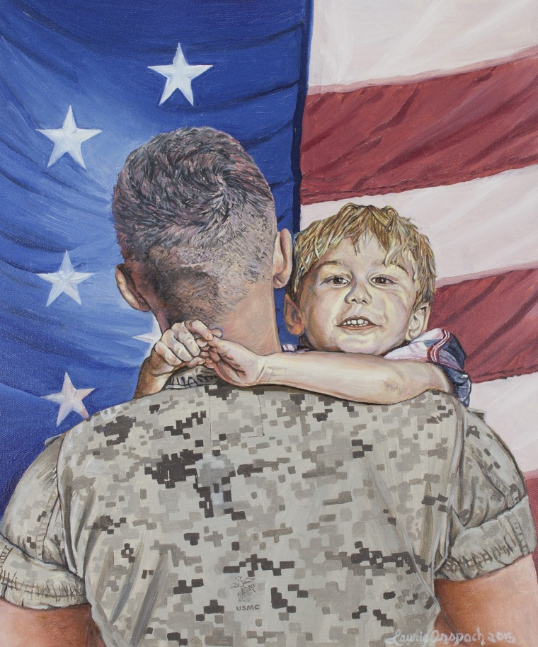 A military serviceman and his son, painted by Laurie Anspach.