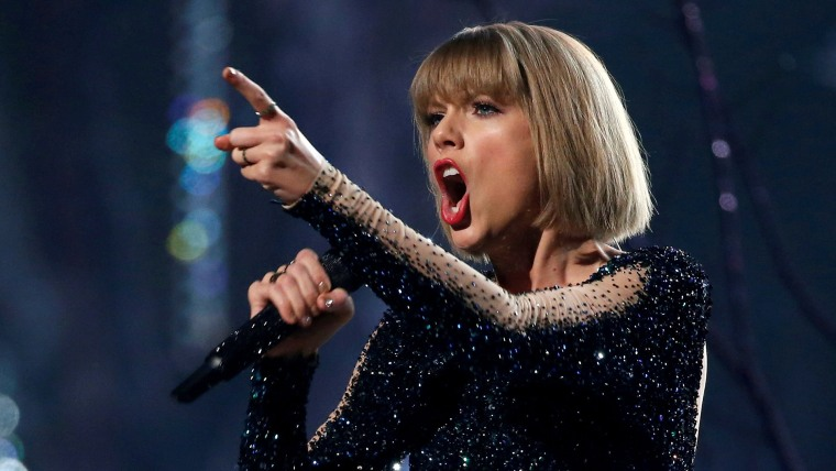 "Image: FILE PHOTO: Taylor Swift performs ""Out of the Woods"" at the 58th Grammy Awards in Los Angeles"