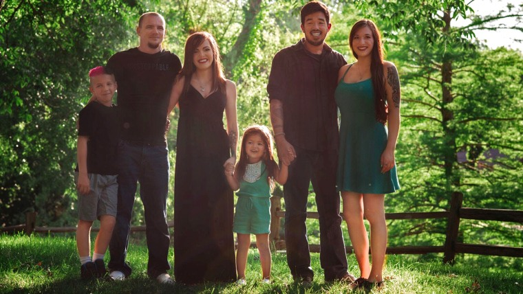 """We just love our daughter,"" says Hayley Booth, pictures here with 4-year-old Rachel, her husband Bryan, his son Brayden, Booth's ex-husband Caleb Quattrone, and his new wife, Rachel's ""bonus mommy,"" Dakota Pitman."