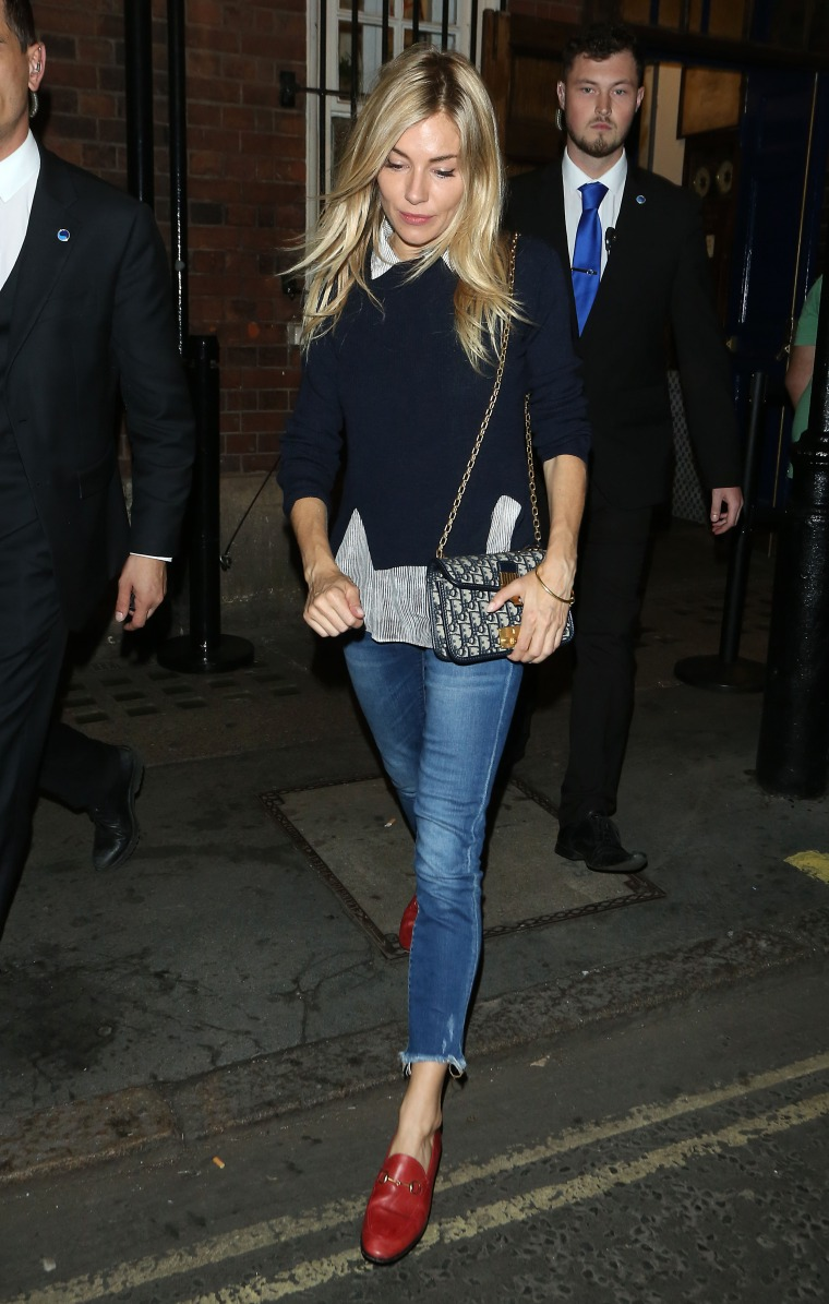 Sienna Miller seen leaving the Apollo theatre in London
