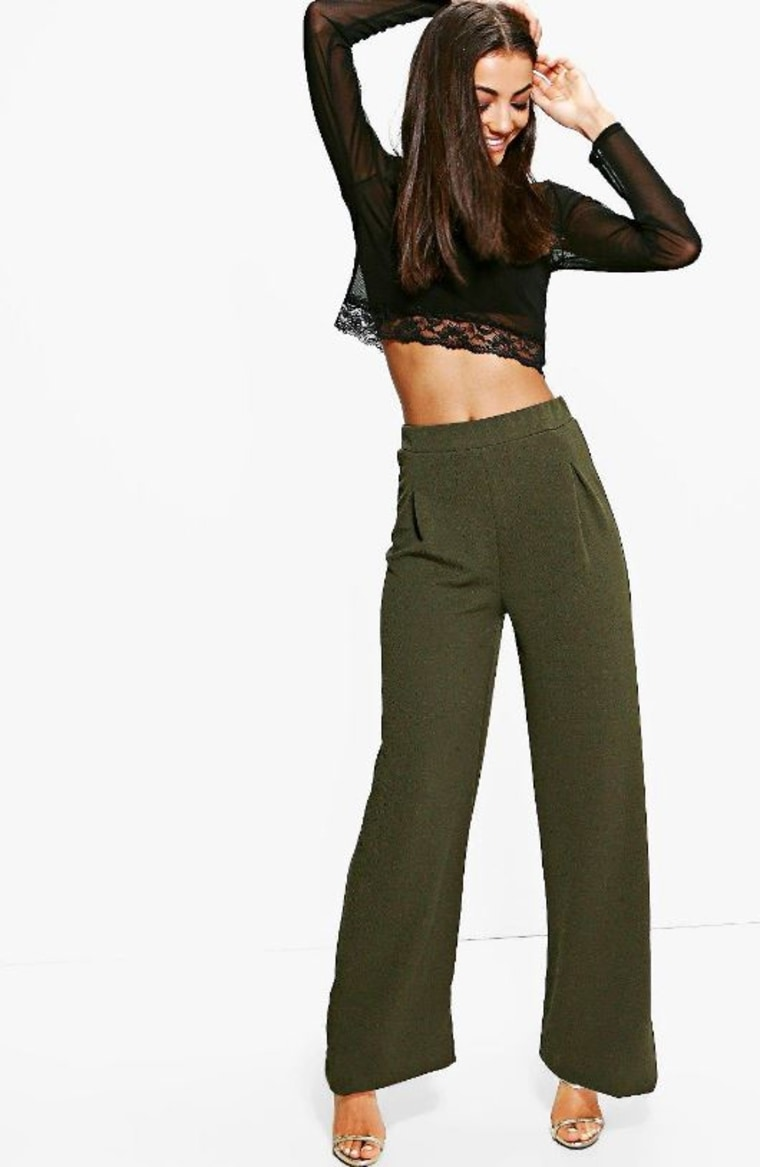 Wide Leg Pleat Front Trouser