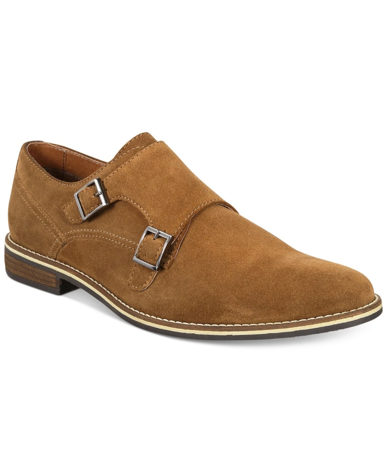Suede Monk-Strap Dress Shoes