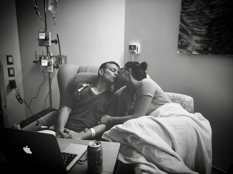 Jennifer at her husband Justin's first chemo appointment on August 16, at Sibley Memorial Hospital in Washington, D.C.