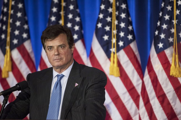 Image: Paul Manafort speaks during a primary night event