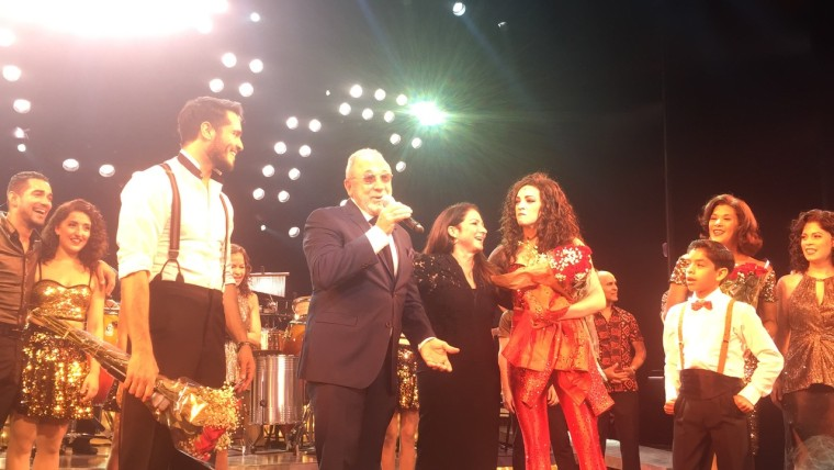 Gloria and Emilio Estefan (center) join cast of 'On Your Feet!' for the curtain call at is final Broadway performance.