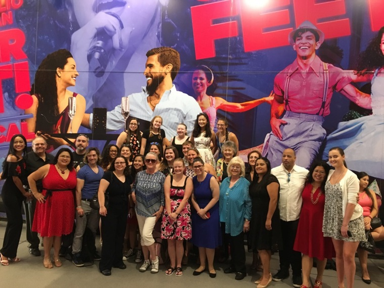 Members of the 'On Your Feeties' fan group gather before the last 'On Your Feet!' performance.
