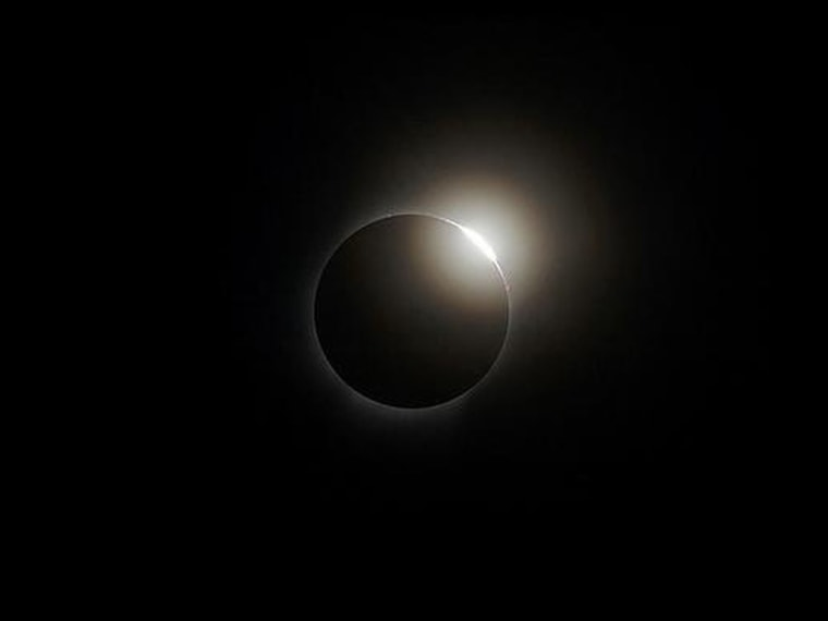 """A """"diamond ring"""" is one of the features of a total solar eclipse that skywatchers should look for. This image was taken during an eclipse on Aug. 1, 2008."""