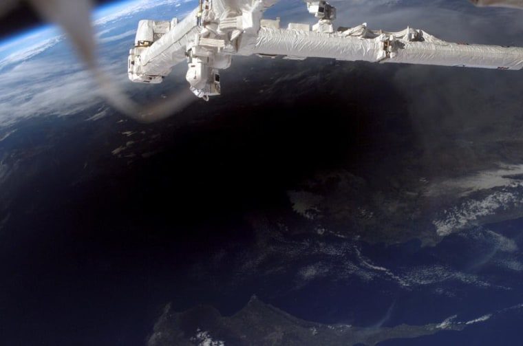 The shadow of the moon seen from the International Space Station during a total solar eclipse. It's possible for viewers on the ground to see the shadow approach and recede. This image was captured on March 29, 2006, and shows the shadow across southern Turkey, Northern Cyprus and the Mediterranean Sea.