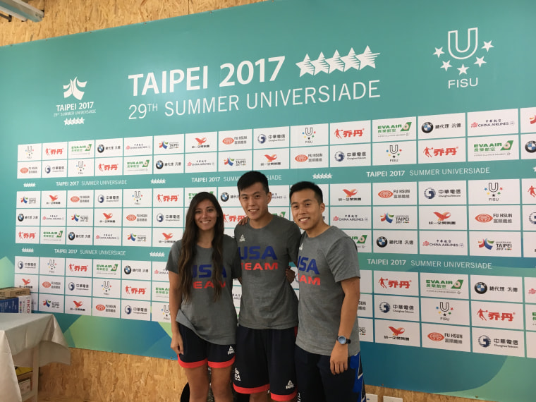 Left to right: judoka Miranda Imamura and fencers Jason Chang and Jerry Chang of the USA Team at the athletes village for the Taipei 2017 Summer Universiade.