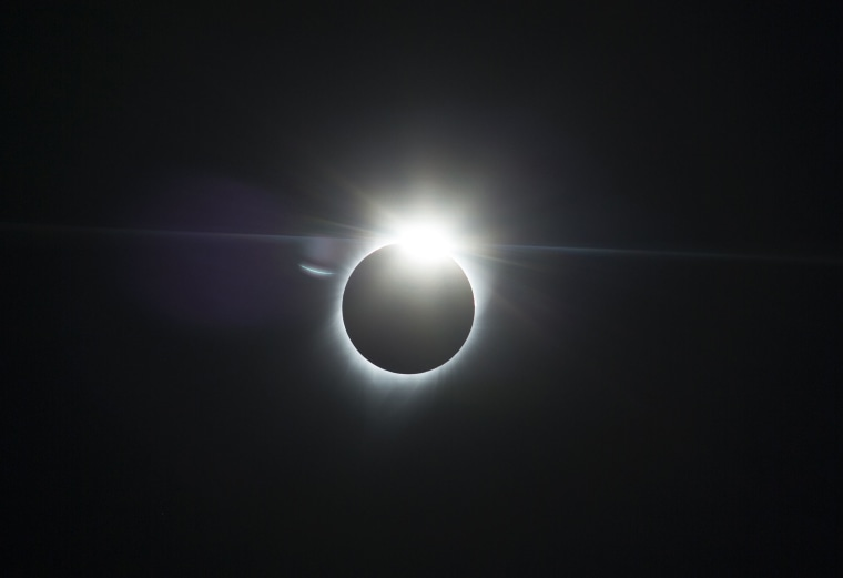 Image: The moon partially covers the sun during an eclipse on Aug. 21, 2017, near Redmond, Oregon.