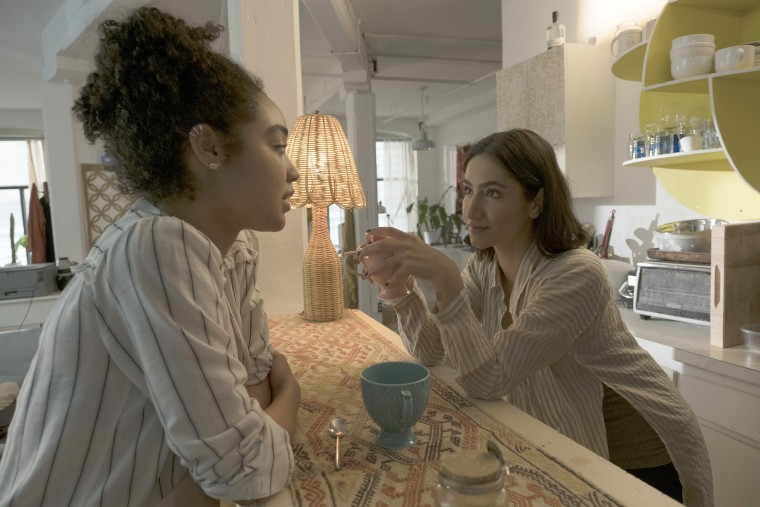 """Image: Aisha Dee as Kat Edison,left, and Nikohl Boosheri as Adena El-Amin in a scene from  Episode 105 """"No Feminism in the Champagne Room"""" of """"The Bold Type."""""""