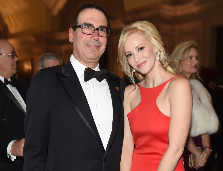 Treasury Secretary Steven Mnuchin poses with then-fiancee Louise Linton at the Chairman's Global Dinner in Washington in January 2017.