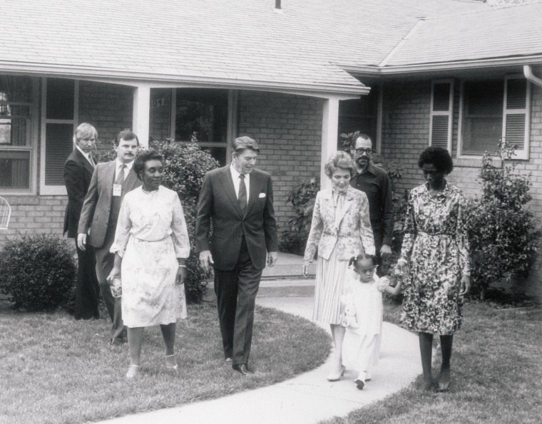 Image: President Ronald Reagan and first lady Nancy, leave the home of Phillip and Barbara Butler