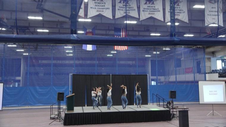 Members of the Pi Lambda Chi Latina Sorority, Inc. step team perform at the La Raza Youth Conference in Denver, Colorado.
