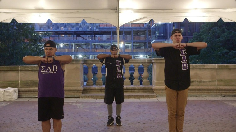 Brothers of Sigma Lambda Beta International Fraternity practice a routine in New York City.