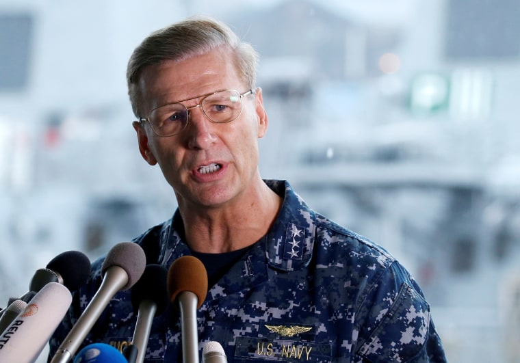 Image: Vice Admiral Aucoin holds briefing on the status of the U.S. Navy destroyer USS Fitzgerald in Yokosuka
