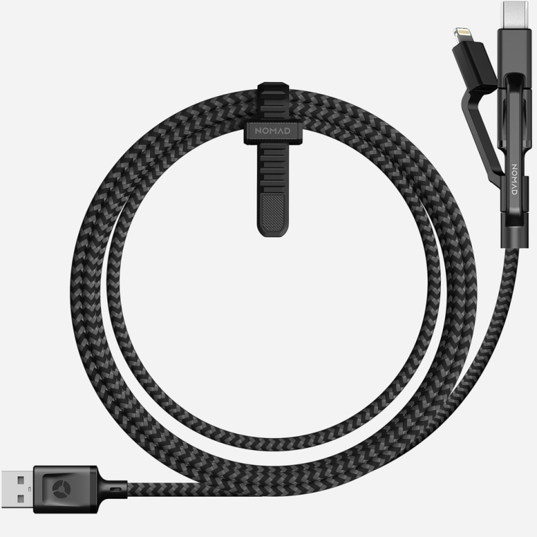 Nomad's Universal Cable can charge any iPhone, Android, or USB-powered device and is durable enough to withstand being balled up and tossed into a backpack a few times a day.