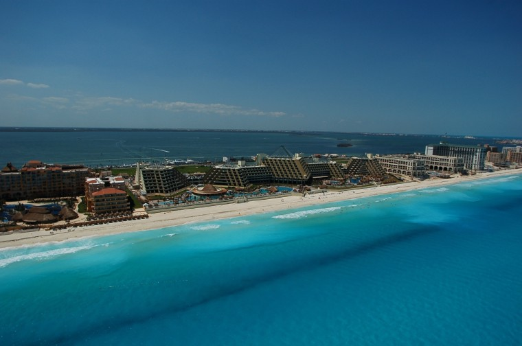 Image: An aerial view of the resort city of Cancun, Mexico.