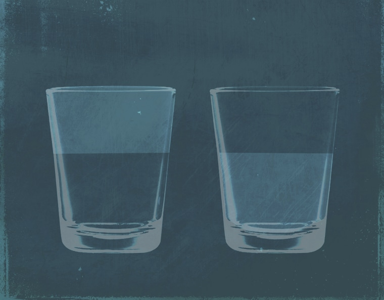 Image: Illustration of a glass half full of water next to a half empty glass of water