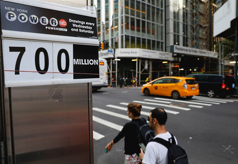 IMAGE: Sign showing Powerball jackpot in New York