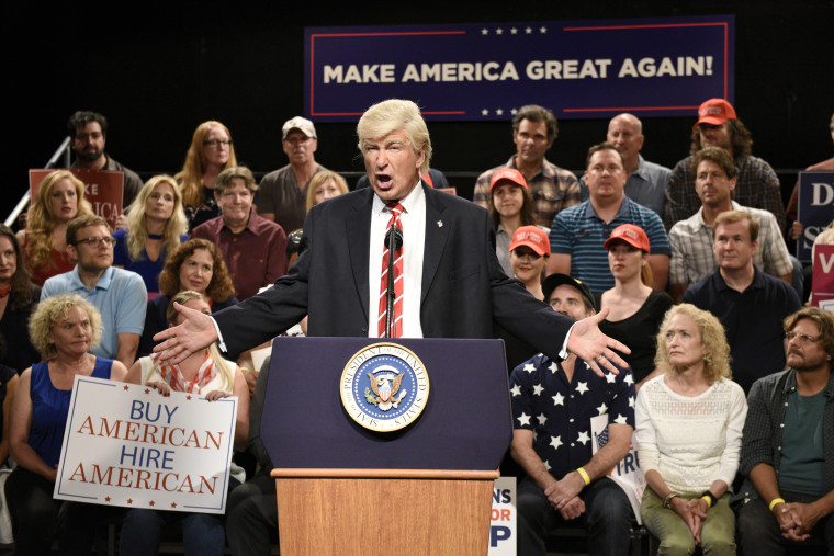"Image: Alec Baldwin as President Donald Trump during a ""Trump Phoenix Rally"" on Saturday Night Live's Weekend Update, Aug. 24, 2017."