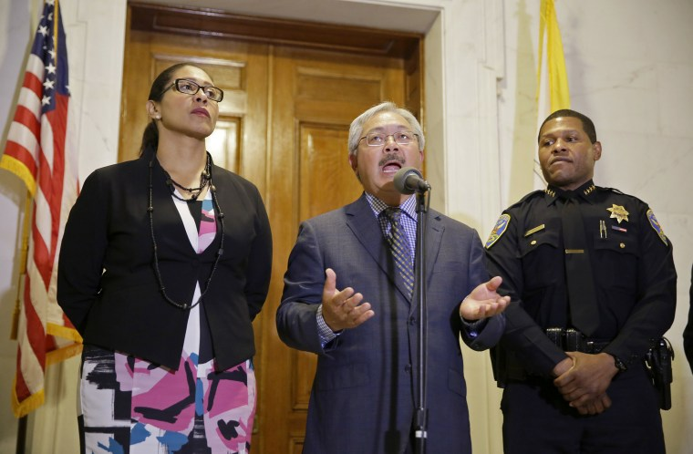 Image: San Francisco Mayor Ed Lee gestures during a news conference as Board of Supervisors President London Breed, left, and police chief William Scott, right, listen at City Hall Tuesday, Aug. 15, 2017, in San Francisco.
