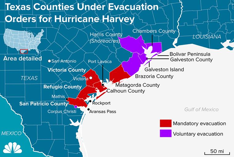 Image: Texas Counties Under Evacuation Orders for Hurricane Harvey
