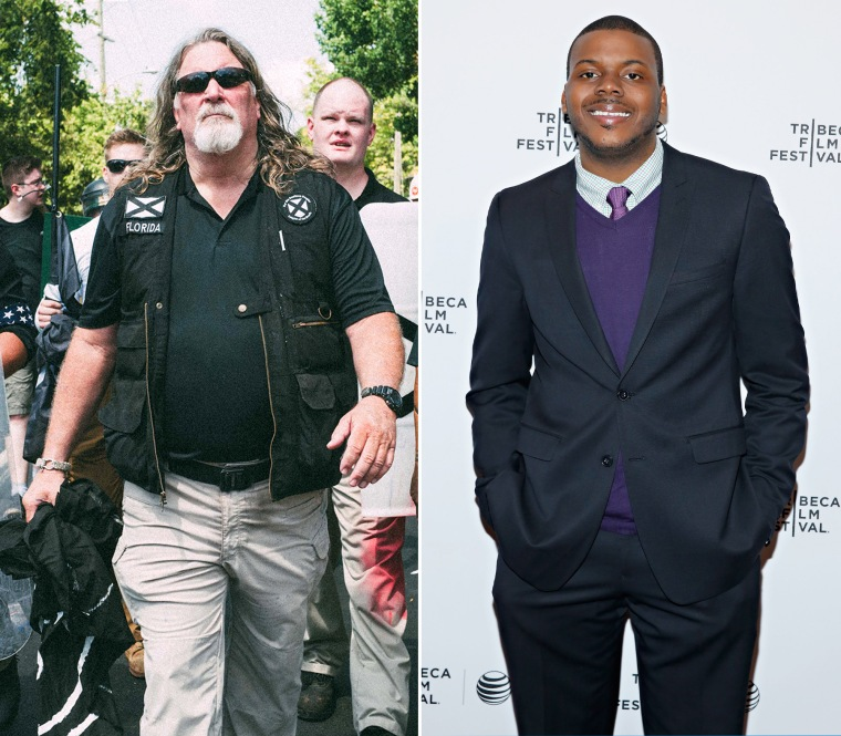 Image: A combo photo showing white nationalist Michael Tubbs and Stockton Mayor Michael Tubbs